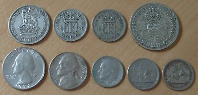 Collection job Lot Of 9 Old Scrap Silver Coins