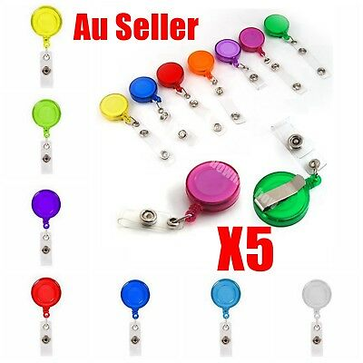 5X Retractable ID Clip Card Holder Reel Recoil Pull Chain Swipe Card Plastic AU