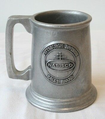 "Nabisco Pittsburgh PA Sales Award Wilton Pewter Tankard Mug 5"" height"