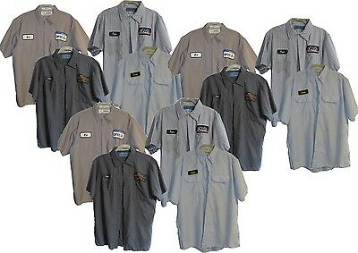 "Lot of 12 ""B"" Grade Used Work Shirts Medium M Short Sleeve Brands Cintas Red Kap"