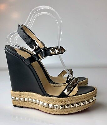 timeless design ae174 f5d4f CHRISTIAN LOUBOUTIN CATACLOU 140 Black Leather Studded Espadrille Wedges  Euro 39