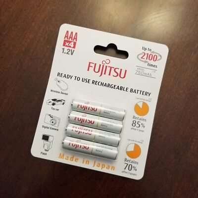 Fujitsu AAA 800mAh 2100 Cycles Ni-MH Pre-Charged Rechargeable Batteries 4-Pack