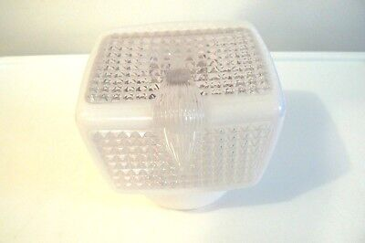 VINTAGE ART DECO MILK GLASS AND CLEAR WALL SCONCE SHADE lot No.1.