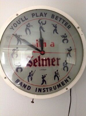 Vig. Antique Working 1950s Selmer Clock Advertising Clock Reverse Glass Painting