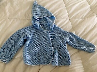 Baby Sweater Wool Handmade Vintage Blue Size 18-24 Months