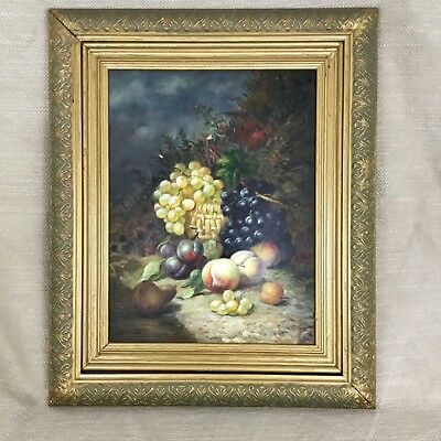Victorian Antique Oil Painting Still Life Fruit & Flowers Original English Art