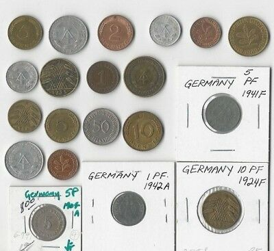 Germany. Vintage Lot Of 20 Coins. Empire, Weimar, Nazi, East And West Germany
