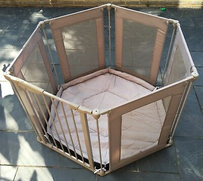 Lindam Safe Secure 6 Panel Fabric Playpen / Room Divider Grey Great Condition