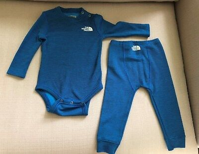 The North Face Infant Thermal, 2 pieces, 12 to 18 mos, bright blue/black stripes