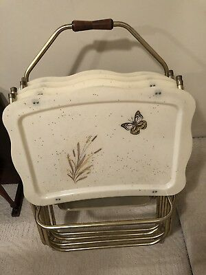 Mid 60's Retro Metal TV Tray Set With Rolling Stand And Coffee Warmer