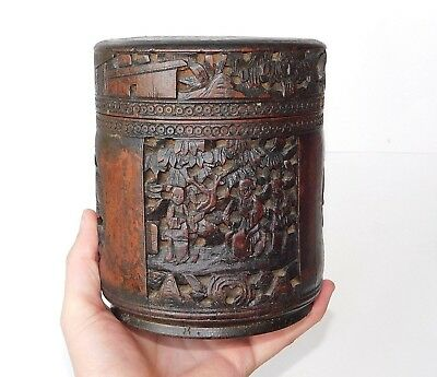 Fine, Large Chinese Qing 19Th.c Hand Carved Bamboo Lidded Brush Pot Bitong 笔筒
