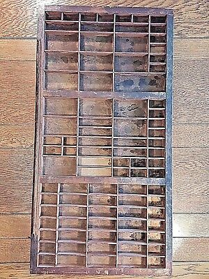 Vintage Typesetting Drawer Tray 32.25 x 16.6 x 1.5 inches