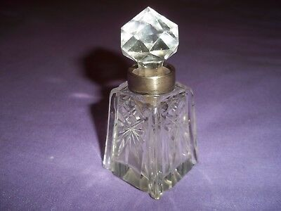 Birmingham 1916-17 Solid Silver Topped & Cut Glass Scent/perfume Bottle