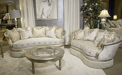 Luxury 2 PC Embroidered Sofa & Loveseat Set in Platinum Living Room Furniture