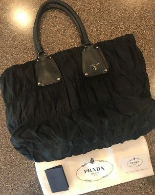 7c0e5e0ccd23 AUTHENTIC PRADA GAUFRE Black Large Tote Shoulder Handbag BN1232 ...