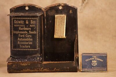 Antique Geiwitz & Son Matchstick Holder (Advertising) Ford Cars, Minnesota