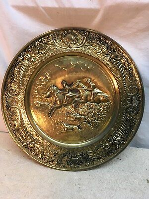vtg Brass copper Stove pipe cover plate fire place 14in Dog Horse  Hunting Fox
