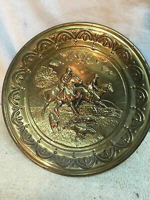 vtg Brass copper Stove pipe cover plate fire place 10in Dog Horse  Hunting Fox