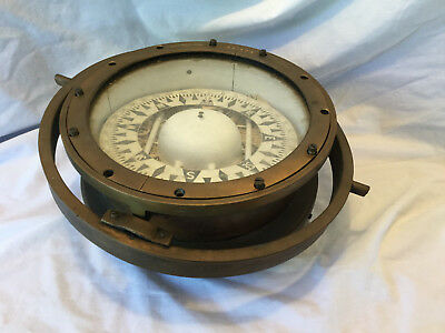 """Vintage ES Ritchie Brass Ships Compass 8"""" Card US Navy Azimuth Ring Binnacle"""