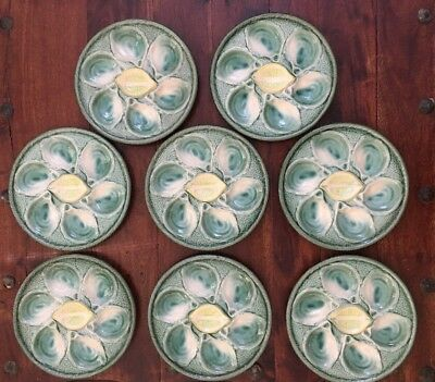 Lot of 8 Majolica ST. CLEMENT France Green Oyster Plate Platter Stoneware 4589