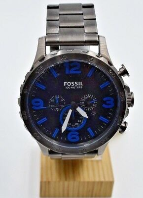 810c3d5f9c70 Fossil Nate Smoke Stainless Steel Blue Accented Chronograph Dial Watch  (JR1478)