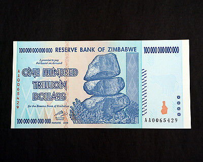 Z$100 Trillion Zimbabwe banknote, Uncirculated, Excellent, Perfect