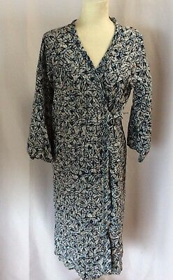 BATIK KERIS Unisex One Size Bathrobe Viscose Wax Process Blue Tied Long