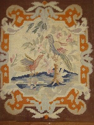 Nicely worked antique needle work of birds