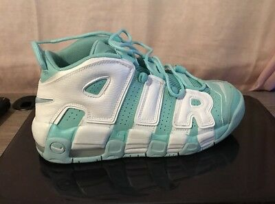 sale retailer 933a6 5f279 EUC NIKE AIR MORE UPTEMPO Size Boys 7Y Island Green White GS 415082-300