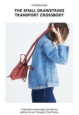 8dcde8c61 Madewell Small Drawstring Transport Crossbody Tote Bag Leather NWT $128
