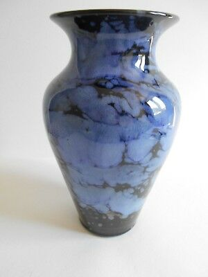 "Large Dark Blue/light Blue Mottled Vase By Ewenny Pottery 9"" Tall"