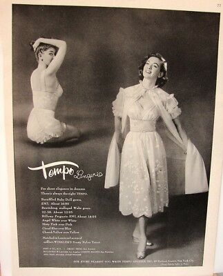 1955 TEMPO Baby Doll NIGHTGOWN Peignoir Waltz Gown Wmn Vintage LINGERIE print Ad
