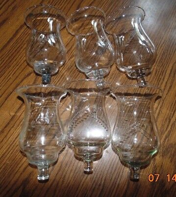 6 Tall Home Interiors Etched Wheat Flared Clear Votive Cups scalloped lot