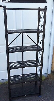 Folding 6 Shelf Garage Storage Metal Shelving ~ 2 Clip Easy Fold ~ Save £££