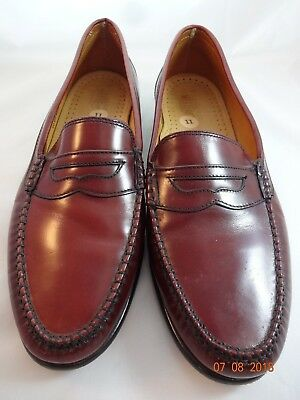 Bass Weejuns Sz 11 Mens Oxblood Penny Loafers Red Brown Slip Ons