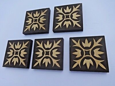 Vintage ** 5 A.E Fireplace Tiles ~ 3 Inch Square Each ~ Zanesville, OH.