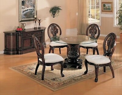 5 Pc Formal Dining Set Wood Glass Top Round Table 4 Chairs Antique Cherry Finish
