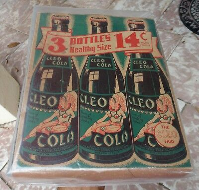 ultra rare CLEO COLA 3 Pack Cardboard BOTTLE Carrier Box advertising 1930's-40's