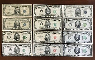 1928-1953 US CURRENCY $67 FACE Red - Blue - Green Seal Notes STAR & VARIETIES