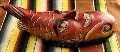 Mexican Folk Art Mask Vintage Man Face Fish Body Moon Shape