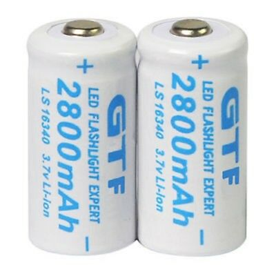 1/2 x 2800mAh 3.7V 16340 CR123A 123A Rechargeable Battery Flashlight Torch  L40