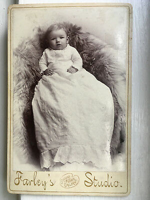 Vtg c.1890 Cabinet Photo GORGEOUS BABY CHRISTENING ROBE FUR