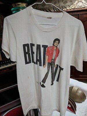 """MICHAEL JACKSON """"BEAT IT"""" VINTAGE 80S a real SCREEN STARS tee size LARGE"""