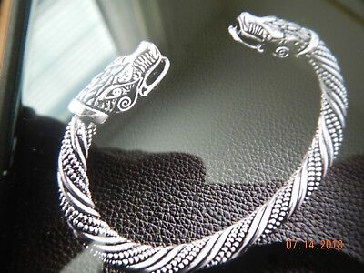 Retro Silver Men Stainless Steel Bracelet Dragon Twisted Wire Viking Cuff Bangle
