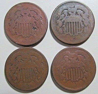 ***4***Mid 1860s,  2 Cent Pieces***Entry Grades***Obsolete Coins