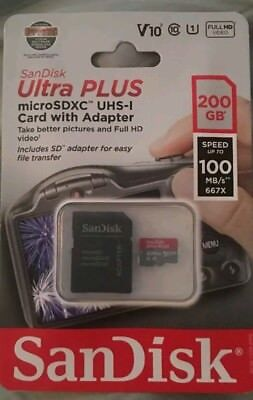 SanDisk Ultra Plus 200GB microSDXC UHS-I Memory Card with Adapter Class 10