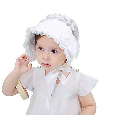 Slowera Baby Girls Lace Royal Bonnet for 6-24 Months White, 6-24 Months
