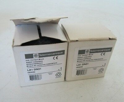(LOT OF 2 NEW) Telemecanique Auxiliary Contact Block LA1DN31 023033