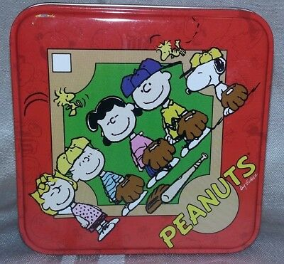 Peanuts Tin Featuring Peanuts Gang Playing Baseball Snoopy Woodstock Lucy Linus