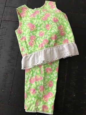 EUC Ring Around The Rosie Boutique Capri Top Set Lilly Strawberries Girls 6 CUTE